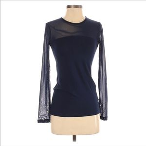 Anatomie Long Sleeve Mesh Top Blouse Navy